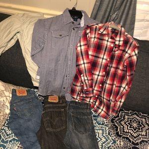 Children's place jean/shirts Levi's